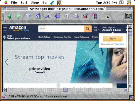 Amazon in Netscape under System 7